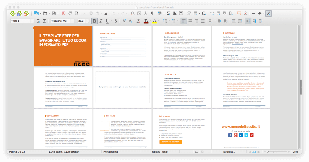 Template per ebook in formato PDF