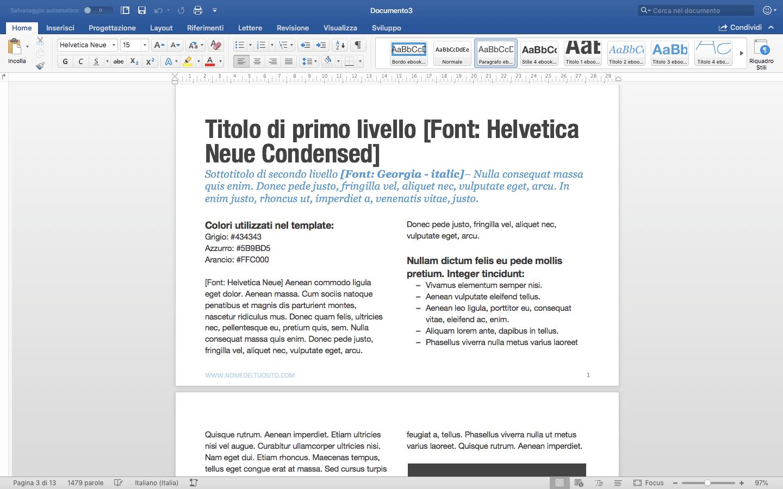 Template per Word per creare una mini-guida in PDF