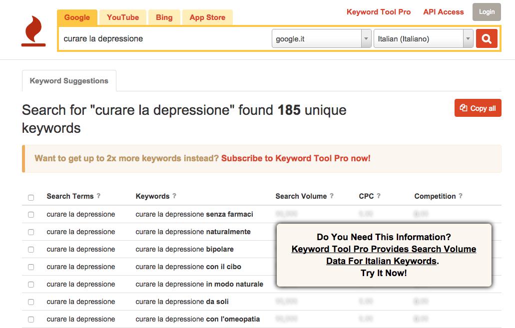 Ricerca delle frasi chiave con il tool keywordtool.io
