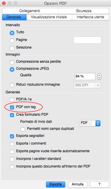 Attivare i tag nel PDF